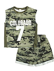 cheap -Kids Boys' Print / Color Block Sleeveless Clothing Set