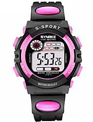 Недорогие -SYNOKE Жен. Спортивные часы электронные часы Цифровой 30 m Защита от влаги Календарь Секундомер PU Группа Цифровой Мода Черный - Красный Синий Розовый / С двумя часовыми поясами / Фосфоресцирующий