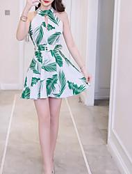 cheap -Women's Cotton Slim A Line Dress Halter Neck
