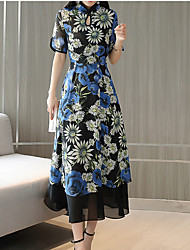 abordables -Mujer Básico / Chic de Calle Corte Swing Vestido - Estampado, Floral Midi