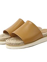 cheap -Women's Shoes Cowhide Summer Comfort Slippers & Flip-Flops Flat Heel Black / Pink / Almond