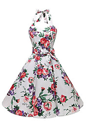 cheap -Women's Slim Sheath Dress - Floral High Waist Halter Neck / Summer