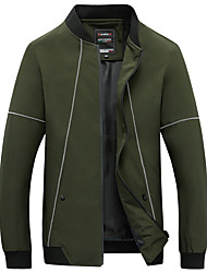 cheap -Men's Plus Size Jacket - Striped Stand / Long Sleeve