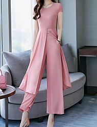 abordables -Mujer Chic de Calle / Sofisticado Conjunto - Un Color, Separado Pantalón