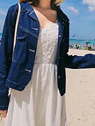 Недорогие -Жен. Джинсовая куртка V-образный вырез Однотонный