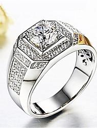 baratos -Homens 3D Anel - Imitações de Diamante Estiloso, Clássico Ajustável Prata Para Diário