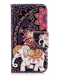 ieftine -Maska Pentru Samsung Galaxy J6 / J4 Portofel / Titluar Card / Cu Stand Carcasă Telefon Elefant Greu PU piele pentru J7 (2017) / J6 / J5 (2017)