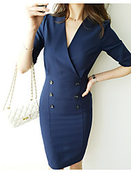 cheap -Women's Basic / Street chic Bodycon Dress - Solid Colored