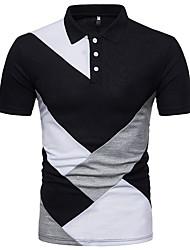 Недорогие -Муж. Пэчворк Polo Классический Контрастных цветов Черное и белое
