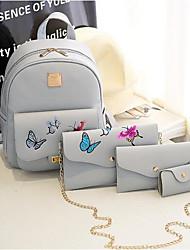 baratos -Mulheres Bolsas PU Conjuntos de saco Conjunto de bolsa de 4 pcs Estampa / Ziper Preto / Bege / Cinzento