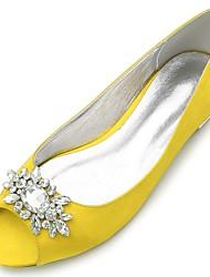 abordables -Femme Chaussures Satin Printemps été Confort / Ballerine Chaussures de mariage Talon Plat Bout ouvert Strass / Paillette Brillante Jaune / Fuchsia / Ivoire / Mariage / Soirée & Evénement