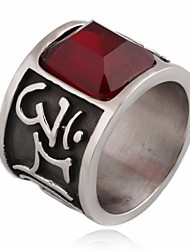 cheap -Men's AAA Cubic Zirconia Classic Ring - Titanium Steel Letter Vintage, Punk, Gothic 7 / 8 / 9 Silver For Masquerade / Street