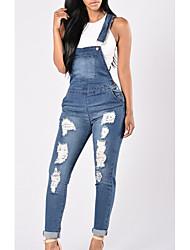economico -Per donna Vita alta Taglia piccola Jeans / Tuta da lavoro Pantaloni - Tinta unita