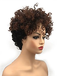 cheap -Synthetic Wig Curly Layered Haircut Synthetic Hair Synthetic Light Brown Wig Women's Short Capless Black / Brown