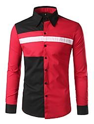 Недорогие -Муж. Пэчворк Рубашка Классический Контрастных цветов
