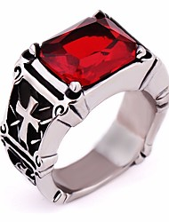 cheap -Men's Synthetic Ruby / Black Gemstone Vintage Style Ring - Titanium Steel Cross Vintage, European, Gothic 7 / 8 / 9 Black / Red For Gift / Festival
