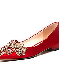 economico -Per donna Scarpe Raso / Seta Primavera Comoda scarpe da sposa Piatto Rosso / Matrimonio