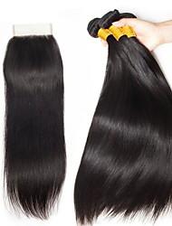 Недорогие -3 комплекта с закрытием Малазийские волосы Прямой Натуральные волосы Необработанные натуральные волосы Человека ткет Волосы Пучок волос One Pack Solution 8-20 дюймовый Естественный цвет / 8A