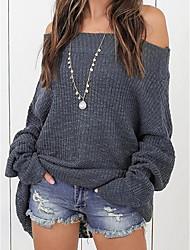 Недорогие -Жен. На выход Длинный рукав Свободный силуэт Длинный Пуловер - Однотонный С открытыми плечами