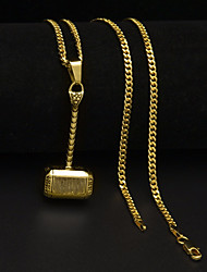 cheap -Men's Cuban Link / Thick Chain Pendant Necklace / Chain Necklace - Stainless Mini, Hammer Unique Design, European, Hip-Hop Gold, Silver 60 cm Necklace 1pc For Gift, Street