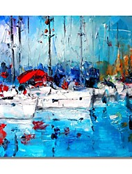 cheap -STYLEDECOR Modern Hand Painted Abstract The Boats on The Blue Sea on Canvas Oil Painting for Wall Art