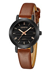 cheap -Geneva Women's Wrist Watch Quartz New Design Casual Watch Cool Leather Band Analog Casual Fashion Black / Brown / Beige - Dark Blue Black / Brown Rose Gold One Year Battery Life