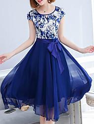 Недорогие -Жен. С летящей юбкой Платье - Геометрический принт Завышенная Средней длины