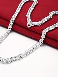 abordables -Hombre Collares de cadena - Plateado Simple, Básico Plata 50 cm Gargantillas 1pc Para Diario, Trabajo