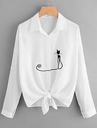 abordables -Mujer Básico Bordado - Algodón Camisa, Cuello Camisero Animal Gato / Primavera
