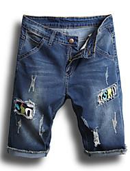 cheap -Men's Basic Jeans / Shorts Pants - Letter Hole / Patchwork