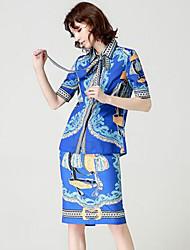 baratos -Mulheres Básico / Sofisticado Camisa Social Sólido / Floral Saia