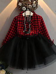 economico -Bambino Da ragazza A quadri / Collage Manica lunga Vestito