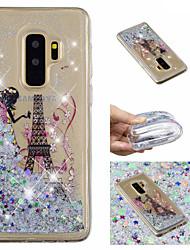 ieftine -Maska Pentru Samsung Galaxy S9 Plus / S9 Scurgere Lichid / Model / Luciu Strălucire Capac Spate Turnul Eiffel / Luciu Strălucire Moale TPU pentru S9 / S9 Plus / S8 Plus