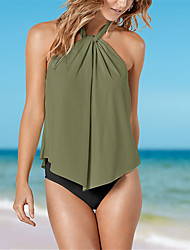 cheap -Women's Tankini - Solid Colored / Color Block Backless / Ruffle Cheeky