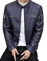 cheap -Men's Leather Jacket - Contemporary Stand / Long Sleeve