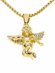 cheap -Women's Cubic Zirconia Stylish / Link / Chain Pendant Necklace / Chain Necklace - Mini, Angel Wings Artistic, European, Hip-Hop Gold 60 cm Necklace 1pc For Birthday, Gift