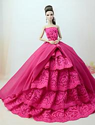 economico -Vestiti Vestito Per Bambola Barbie Fucsia Misto cotone / Pizzo Abito Per Ragazza Bambola giocattolo