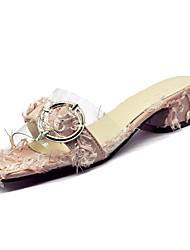 Недорогие -Жен. Обувь Полиуретан Лето Босоножки Сандалии На толстом каблуке Черный / Серый / Розовый