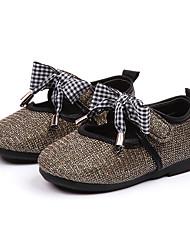 baratos -Para Meninas Sapatos Couro Ecológico Primavera Verão Conforto Rasos Caminhada Laço / Gliter com Brilho para Adolescente Dourado / Branco / Rosa claro
