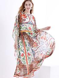 Недорогие -Жен. Классический / Элегантный стиль С летящей юбкой Платье - В клетку Макси