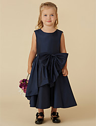 cheap -A-Line Tea Length Flower Girl Dress - Taffeta Sleeveless Scoop Neck with Bow(s) by LAN TING BRIDE®