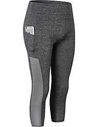 abordables -Mujer Deportivo Pantalones de yoga - Rojo claro, Azul, Gris Deportes Color sólido 3/4 Medias/Corsario Pilates, Fitness, Rutina de ejercicio Ropa de Deporte Suave, Superslim, Compresión Alta