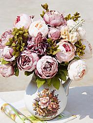 baratos -Flores artificiais 1 Ramo Clássico Europeu / buquês de Noiva Peônias Flor de Mesa