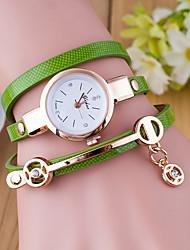 baratos -Mulheres Bracele Relógio Quartzo Relógio Casual Couro Banda Analógico Fashion Preta / Branco / Azul - Verde Azul Verde Escuro