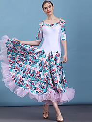 cheap -Ballroom Dance Dresses Women's Performance Elastane / Ice Silk Pattern / Print / Ruching / Split Joint Long Sleeve Dress