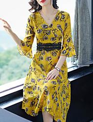 cheap -Women's Silk A Line Dress - Geometric High Waist V Neck