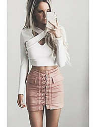 cheap -Women's Faux Leather Mini Bodycon Skirts - Solid Colored / Spring / Summer / Slim