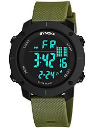 Недорогие -SYNOKE Муж. Спортивные часы электронные часы Цифровой 50 m Защита от влаги Календарь Секундомер PU Группа Цифровой Мода Черный / Зеленый / Серый - Серебряный Серый Зеленый / Хронометр