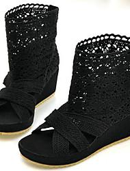preiswerte -Damen Schuhe PU Sommer Modische Stiefel Stiefel Walking Plattform Offene Spitze Booties / Stiefeletten Schwarz / Beige / Party & Festivität