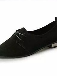 Недорогие -Жен. Обувь Замша Весна Удобная обувь Туфли на шнуровке На плоской подошве Заостренный носок Черный / Желтый / Военно-зеленный